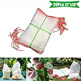 MAZU 20Pcs 12''x 18'' Garden Reusable Nylon Plant Fruit Protect Drawstring Net Bag - Standard Insect Screen & Garden Netting Bags Against Insect Pest Bird For Protecting Your Plant/Fruit/Flower B4