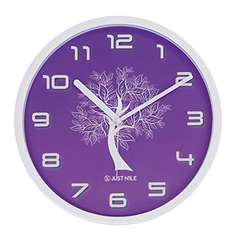 JustNile Silent Modern Creative Wall Clock - 13-inch Purple W/ White Tree (Mother's Day Gift Idea For Mom)