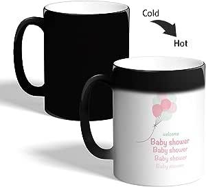 كوب القهوة السحري، اسود، welcom baby shower بطبعة