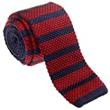 Retreez Vintage Smart Casual Men's 2'' Skinny Knit Tie - Burgundy and Navy Blue