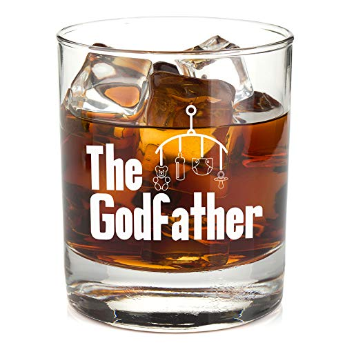 Godfather Whiskey Glass for Men - Cool Present Idea for Him - Baptism or Christening Gift - 11oz Bourbon Scotch Tumbler -