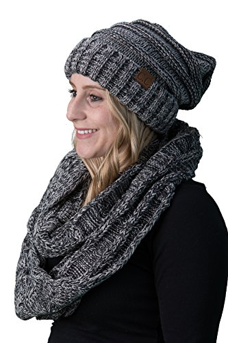 bHS-6100-816.21 Oversized Beanie Scarf Bundle - Black/Grey (4T#31) ()