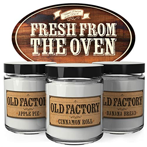 Old Factory Scented Candles - Fresh from The Oven - Decorative Aromatherapy - Handmade in The USA with Only The Best Fragrance Oils - 3 x 4-Ounce Soy Candles