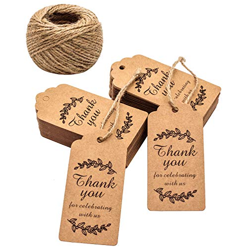 k You for Celebrating with Us, Whaline 100 Pcs Paper Hang Tag for Wedding Party Favors, Baby Shower with 100 Feet Natural Jute Twine (Leaves Brown) ()