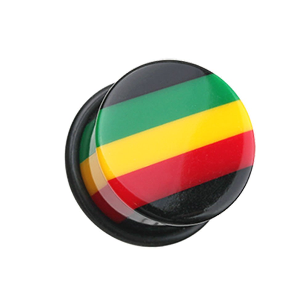 Inspiration Dezigns Rasta Jamaican Stripe Single Flared Ear PlugsSold as Pairs