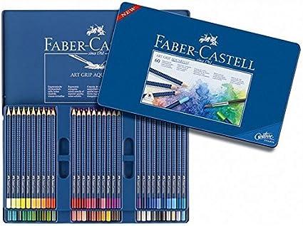 Faber Castell Lápices de colores Art Grip Aquarelle, 60 estuche de metal: Amazon.es: Oficina y papelería
