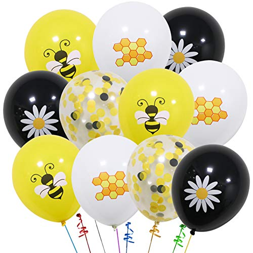 UTOPP 40 PCS Happy Bee Balloons Decorations Kit,Latex Bumblebee Dots Balloons Flower Balloon and Confetti Yellow Balloons for Honey Bee Themed Birthday Party Baby Shower Parties Favors