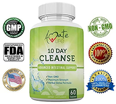 Amate Life Cleanse- 10 Day Intestine Cleanse Supplement- Detox Natural Supplement-Colon Protecting Diet Supplement - Wormwood, Black Walnut - 60 Capsules - Natural Active Ingredients - NON GMO