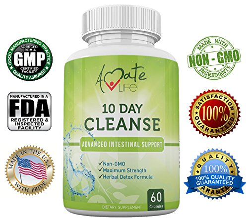 Amate Life Cleanse- 10 Day Intestine Cleanse Supplement- Natural Dietary Supplement-Colon Protecting Diet Supplement - Wormwood, Black Walnut - 60 Capsules - Natural Active Ingredients - NON GMO