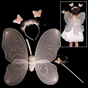Toy Cubby Butterfly White Nylon Wings with Butterfly Headbands and Magic Wand Set.