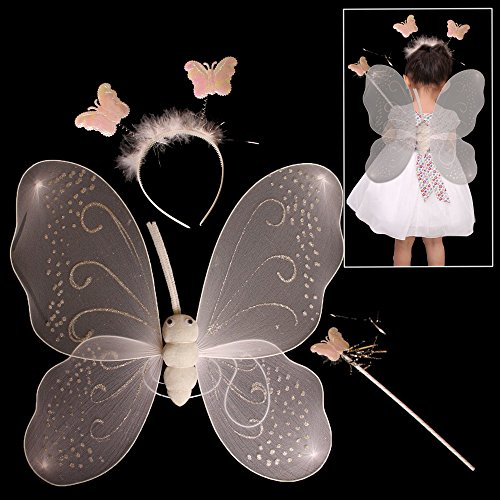 Fairy Wings Baby (Butterfly Costume - Pink Nylon Wings with Butterfly Headbands and Magic Wand Set - By Toy Cubby!)