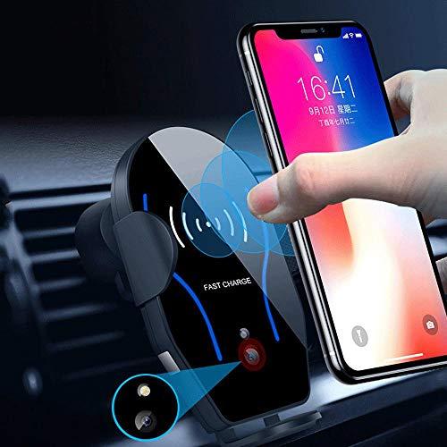 FOONEE Sensor infrarrojo de 10 W, cargador inalámbrico para coche, soporte para teléfono móvil, sujeción automática…