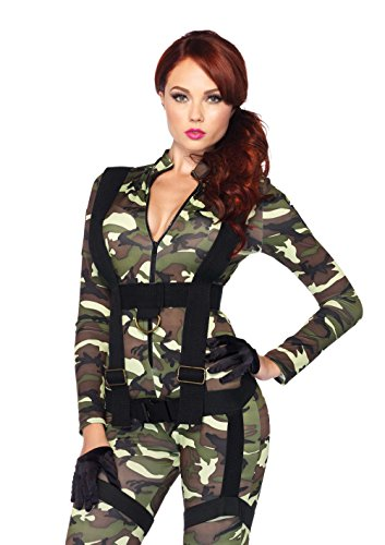 Leg Avenue Women's 2 Piece Pretty Paratrooper Costume, Camo, Large ()