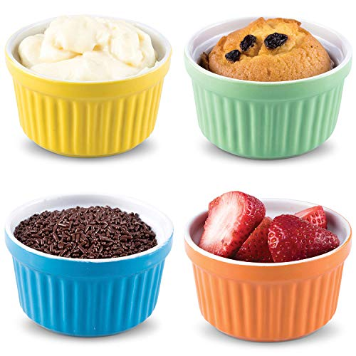 Uno Casa Ceramic Colorful Ramekins, Souffle Dishes - 5 Ounce for Souffle, Creme Brulee and Ice Cream - Set of 4 Bright Colored Ramekins