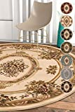 Pastoral Medallion Ivory French 8 Round (7'10'' Round) Area Rug European Floral Formal Traditional Area Rug Easy Clean Stain Fade Resistant Shed Free Modern Classic Thick Soft Plush Rug