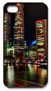 iPhone 4S/4 Case Cover - Singapore Night Designer Customize PC Back Cover Case for Apple iPhone 4s and iPhone 4 - Black