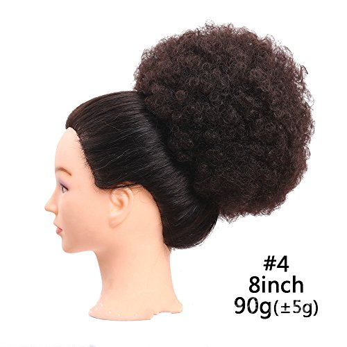 Fluffy Afro Kinky Curly Chignons Updo Hair Bun Synthetic Cozy Ponytail Puff Donut Chignon Wig With Two Plastic Combs Short Wedding Hairstyles Updo 6 or 8inch (8INCH, 4) by Reyen