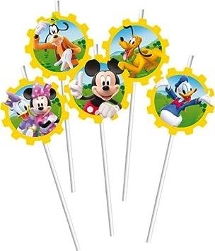 Film- & TV-Spielzeug Trinkhalme Mickey Mouse6 StückMicky MausParty GeburtstagStrohhalme