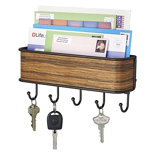 mDesign Mail, Letter Holder, Key Rack Organizer for Entryway, Kitchen - Bronze/Rosewood Finish