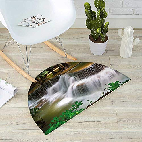 Nature Semicircular CushionTropical Paradise Waterfall in Thailand Surreal Cascade Wonders of The World Scenery Entry Door Mat H 51.1