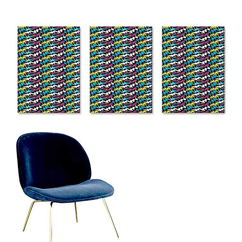 (J Chief Sky Graffiti,Poster Print Hand Drawn Modern Street Art Illustration with Colorful Curved Stripes Composition Mural Wallpaper Multicolor W16 x L32)