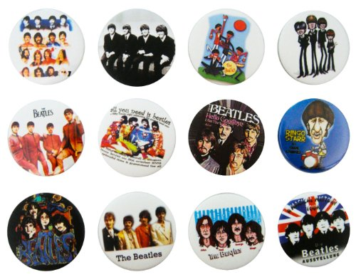 THE BEATLES (1) Awesome Quality Lot 12 New Pins Pinback Buttons Badge 1.25