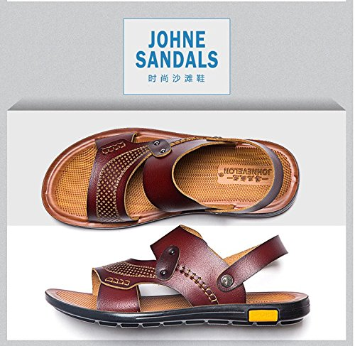Xing Lin Sandalias De Hombre Los Hombres Sandalias Calzado De Playa Del Hombre Cool Zapatillas Para Hombres Sandalias Open Toe Verano Antideslizante Impermeable, 40, Marrón Oscuro