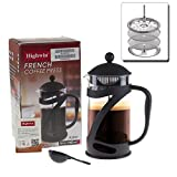 Mother Day Gift - Highwin French Press Coffee Tea & Espresso Maker, Black 34oz Coffee Press Pot w/ Stainless Steel Coffee Plunger & Heat Resistant Glass, Bonus Filters, Gift Box