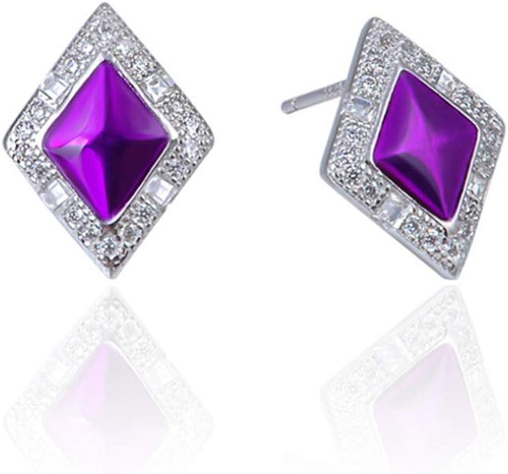 Hermosos Pendientes De Piedras Preciosas De Diamantes De Color Púrpura S925 Pendientes De Circonio De Plata Esterlina Damas Personalidad Pendientes De Diamantes Joyas