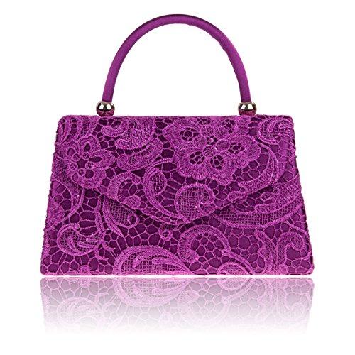 Bridal UK Designer Women Clutch Xardi Lace Ladies London Evening Purple Handled Satin Floral Handbag xwwZP1Aq