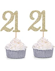 Giuffi Set of 24 Golden Number 21 Cupcake Toppers 21st Birthday Celebrating Party Decors - by