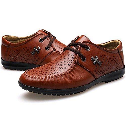 Brown Pelle di per Lace Top Shoes Uomini Foro Gli Rosso Marrone Appartamenti Punta Low Nero Estate Traspirante Microfibra Uomini Rotonda Up RTqgnXd