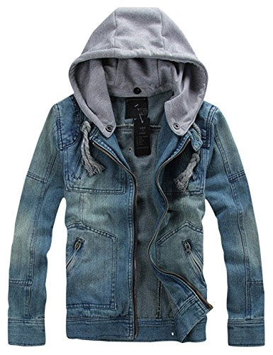 Springrain Men's Casual Slim Fit Hooded Denim Jacket (Medium, Light Blue) - Hooded Denim