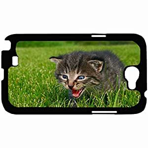 Customized Back Cover Case For Samsung Galaxy Note 2 Hardshell Case, Black Back Cover Design Cat Personalized Unique Case For Samsung Note 2