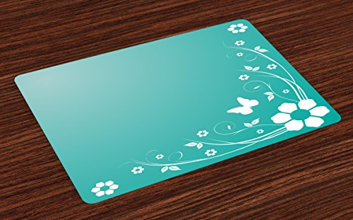 (Lunarable Turquoise and White Place Mats Set of 4, Flower Silhouette Leaves and Butterfly on Abstract Background, Washable Fabric Placemats for Dining Room Kitchen Table Decor, Turquoise and White)