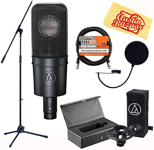 Audio-Technica AT4040 Cardioid Condenser Microphone Bundle with Boom Stand, Pop Filter, XLR Cable, and Austin Bazaar Polishing Cloth Audio Technica At4040 Large Diaphragm
