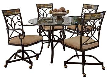 Amazon.com - Hillsdale Pompei 5-Piece Dining Set with Caster ...