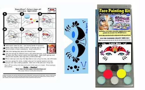 Face Painting Stencil - StencilEyes - Lady Bug Face Painting DIY Kit]()