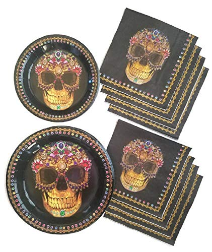 Day of The Dead Dia De Los Muertos Sugar Skull Party Supplies Paper Plate and Napkin Bundle of 3 - Service for 24 for $<!--$20.99-->
