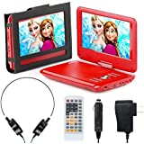 Portable DVD Player for Car, Plane & more - 7 Car & Travel Accessories Included ($35 Value) - 9 Swivel Screen - Whopping 6 Hour Battery Life - Perfect Portable DVD Player for Kids - Red