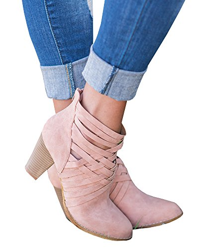 FISACE Women 2017 Summer Fashion Women Boots Square Heels Strappy Ankle (Pink Boots)