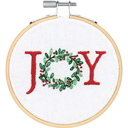 (Dimensions 72-76046 Needlecrafts Joy Wreath Christmas Kit, 4'' Embroidery Hoop)