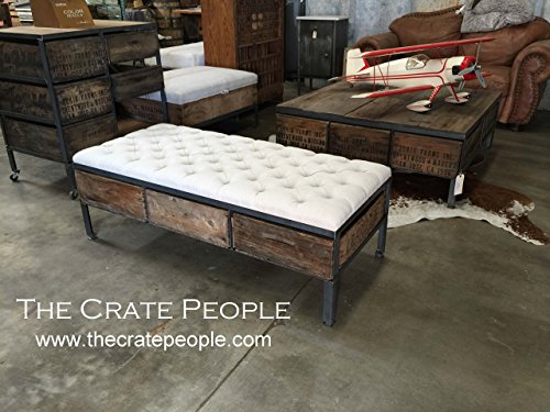 Tufted Ottoman Coffee Table with 3 Vintage Crates as drawers -- Custom Made Furniture