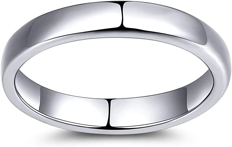 925 Sterling Silver 4mm Plain Comfort Fit Wedding Band Size 5-14