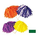 Club Pack of 144 Green Football Themed Pom Pom Tissue Shakers 16'' Stick x 12'' Strand (320)