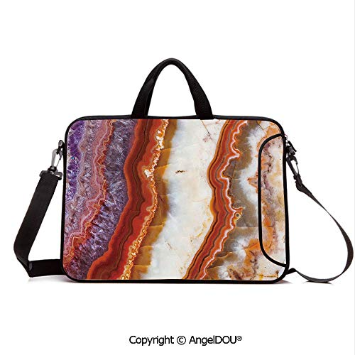 AngelDOU Notebook Bag for School Laptop Sleeve Messenger Bags Gradient Macro Quartz Rock Surface with Natural Minerals Glazed Beauty Artsy Dis PC Cover case Compatible with mac pro/asus/acer/hp/xia