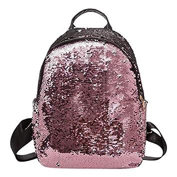 463ad5586d757 OneMoreT Damen Pailletten Rucksack Casual Reise Bling Rucksack weiblich für  Teenager Mädchen weiblich Schule Schultertasche Mochila Feminina rose  ...