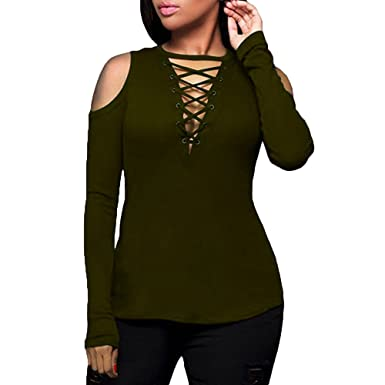 9db2c42c861f0e Paymenow Women Plus Size Criss Cross Hollow Out Cold Shoulder Long Sleeve  Casual Tops Blouse T