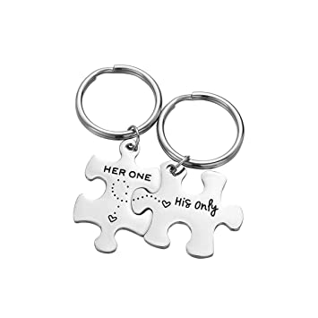 LIOOBO 2Pack / Set Her One His Only Letters Llaveros Puzzle ...