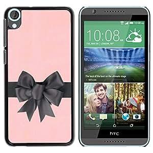 YOYOYO Smartphone Protección Defender Duro Negro Funda Imagen Diseño Carcasa Tapa Case Skin Cover Para HTC Desire 820 - Arco de regalo de satén de seda de color rosa envoltorio gris